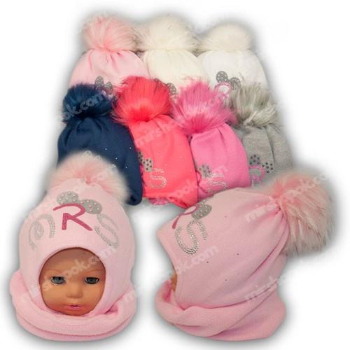 Детский комплект - шапка и шарф (хомут) для девочки, p. 46-48, Ambra (Польша), утеплитель Iso Soft, N26