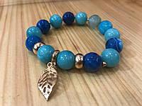 Женский браслет из натуральных камней синий агат