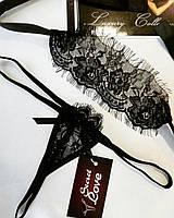 Эротическое белье кружевная маска и мини стринги. Размеры от XS до XXL