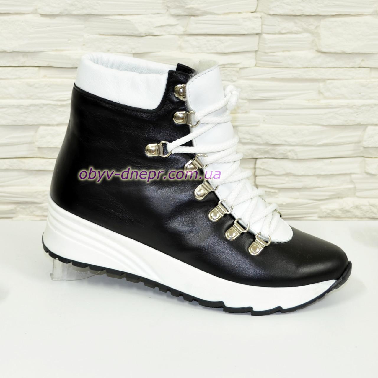 c0732fbe Ботинки женские кожаные зимние на шнуровке, цвет черный/белый ...