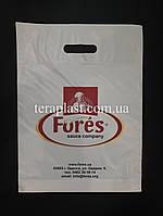 Пакет с вырубной ручкой 300х400,50 мкм печать 1 цвет