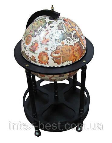 Глобус бар 42003W-B напольный на 4 ножки 420мм беж-черный, фото 2