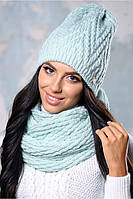 "Женский теплый комплект шапка и шарф ""Амелия"" на флисе"