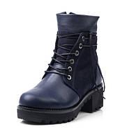 Женские зимние ботинки из синей кожи