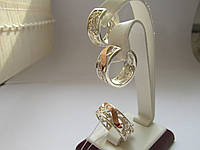 """Серебряные серьги с золотыми пластинами""""Изабелла"""", фото 1"""