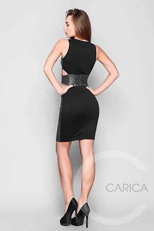 Платье  коктейльное, (Черно-бежевый), фото 2