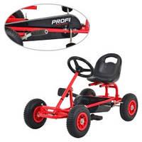 Педальный карт для детей PROFI М 2211-3 железный с надувными колесами (красный)