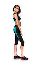 Женские спортивные бриджи из бифлекса. Модель КА021_черный с бирюзовым., фото 1