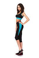 Женские спортивные бриджи из бифлекса. Модель КА021_черный с голубым., фото 1