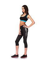 Женские спортивные бриджи из бифлекса. Модель КА021_черный с леопардовым., фото 1