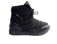 Женские сапоги-ботинки дутики зимние черные 0428КФМ