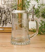 Коллекционный пивной бокал, стекло, оловянная крышка, Германия, охота