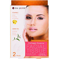 SALE, Nu-Pore, Collagen Essence Facial Tissue Mask, Vitamin E & Green Tea, 1 Vitamin E & 1 Green Tea Mask