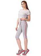Женские трикотажные спортивные бриджи с кантами. Модель КА025_серый с красно-белым кантом., фото 1