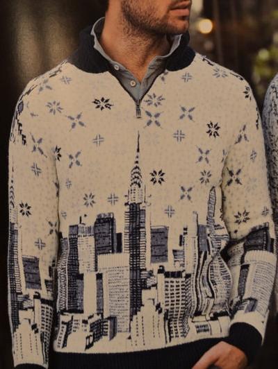 9e9ea6c06338 Свитер мужской зимний Pulltonic с рисунком большого города: продажа ...