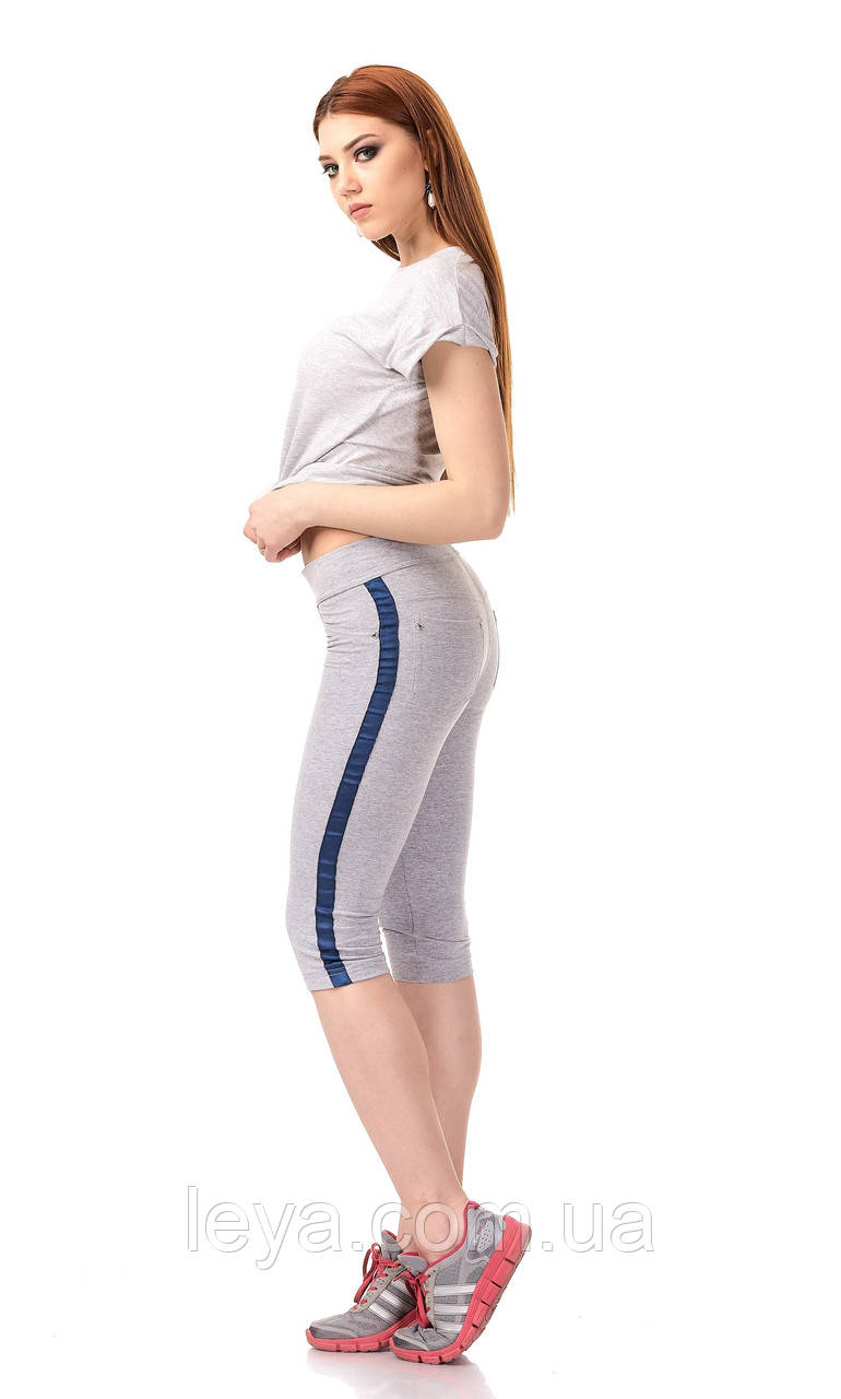 Женские трикотажные спортивные бриджи с кантами. Модель КА025_серый с синим кантом.