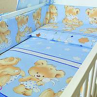 Защита бампер в детскую кроватку  из двух частей Мишка с подушкой голубой