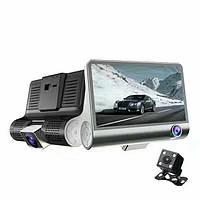 Видеорегистратор T655 3 камеры HDR LCD 4.0 Full Hd