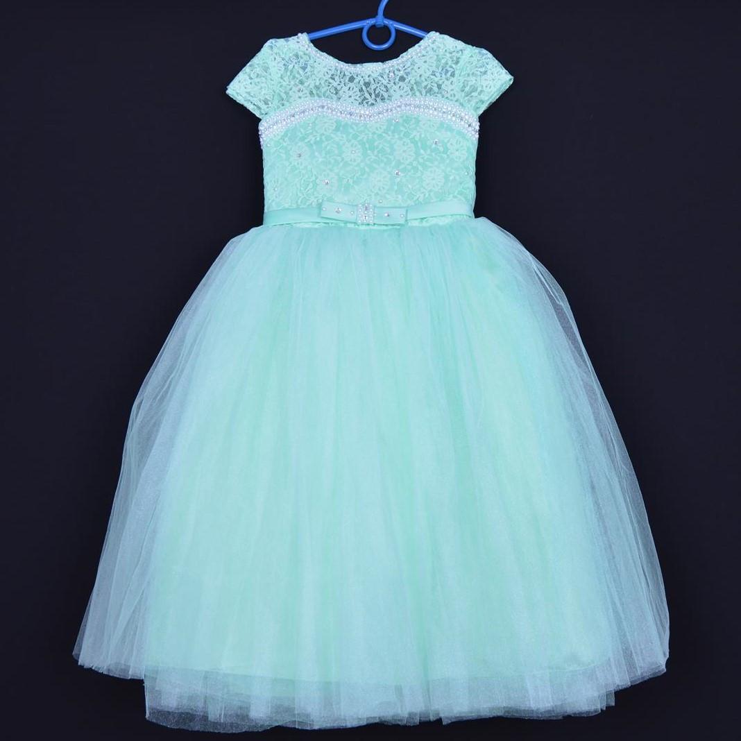 """Нарядное детское платье """"Принцесса"""". 6-7 лет. Салатово-мятное. Оптом и в розницу"""