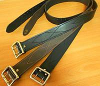 Ремни офицерские коричневого цвета пряжки стальные желтые