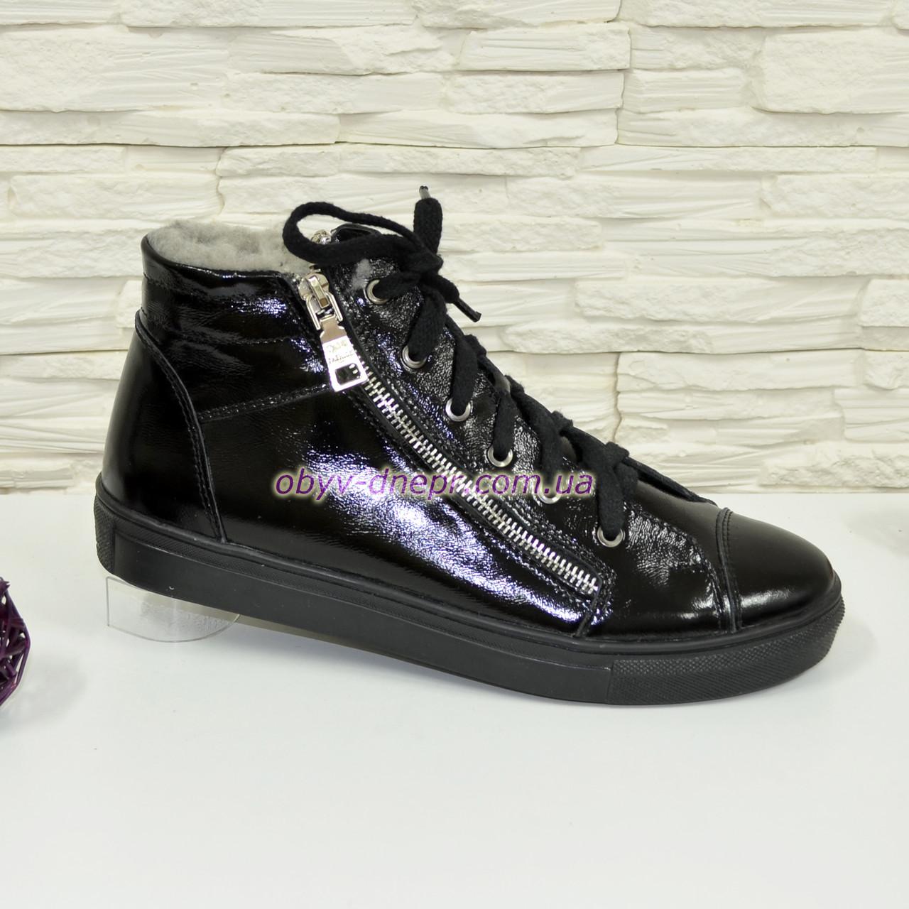 Ботинки женские  , из натуральной лаковой кожи черного цвета, на плоской подошве