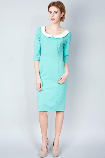 Мятное облегающее платье футляр П107