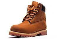 Ботинки мужские зимние Timberland Premium Boot 6, высокие, рыжие, нубук, р. 41 42