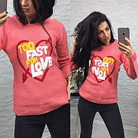 Теплый женский вязаный свитер с рисунком 4804148
