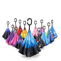 Зонт UpBrella (Апбрелла), обратный зонт, с рисунком