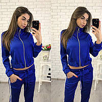 Шелковый женский спортивный костюм с лампасами 7005141 электрик