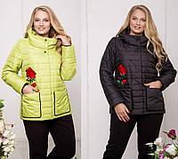 Плащевая женская куртка в больших размерах с вышивкой 615250