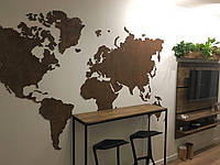 Декоративная карта мира из дерева на стену
