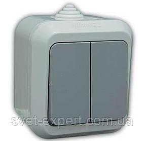 Выключатель 2-клавишный IP44 Серая Makel