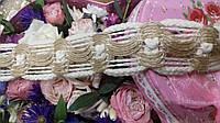 Лента плетеная из канатиков и мешковины - 35 мм