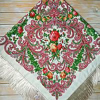 Большой женский бежевый платок (135х135см, бежевый, 80%-шерсть), фото 1
