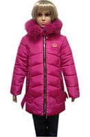 Пальто пуховик зимний для девочки с мехом
