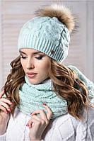 """Женский теплый комплект шапка с помпоном и шарф """"Шакира"""" на флисе"""