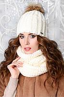 """Женский теплый комплект шапка с помпоном и снуд """"Земфира"""" на флисе"""