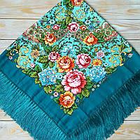 Красивый женский платок с цветами (110х110см, зелёный, 80%-шерсть)