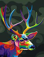 Картина по номерам без коробки Радужный олень (BK-GEX5324) 40 х 50 см