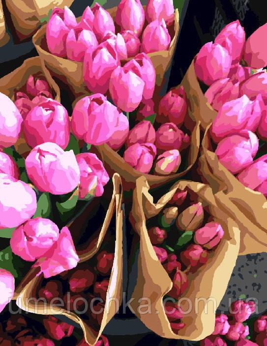 Картина по номерам без коробки Продавец тюльпанов (BK-GX7520) 40 х 50 см