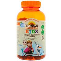 """Sundown Naturals Kids, Мультивитаминные жевательные таблетки, """"Холодное сердце"""", клубника, арбуз и малина, 180 таблеток"""