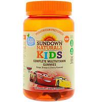Sundown Naturals Kids, Мультивитаминные жевательные конфеты, Диснеевские машинки, 3 вкуса, виноград, апельсин и вишня, 60 конфет