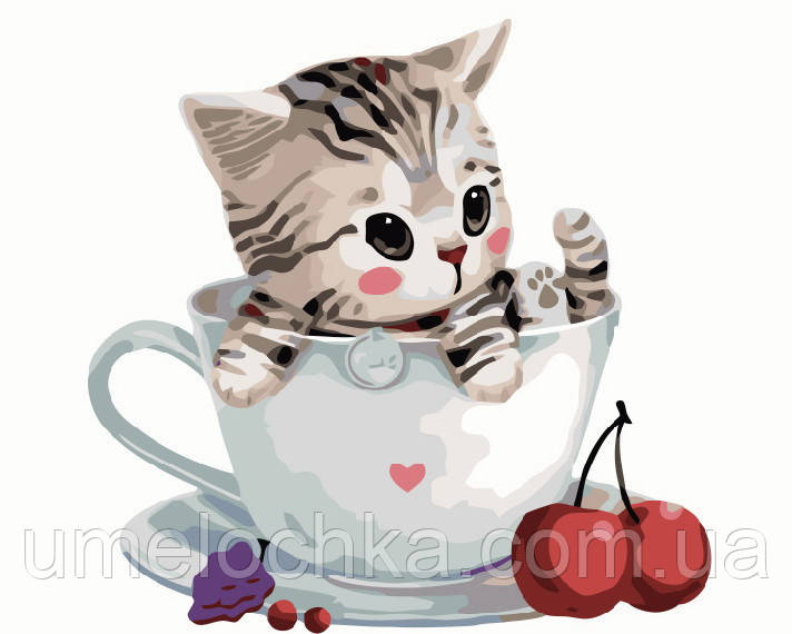 Картина по номерам Котик в чашке (BRM8396) 40 х 50 см