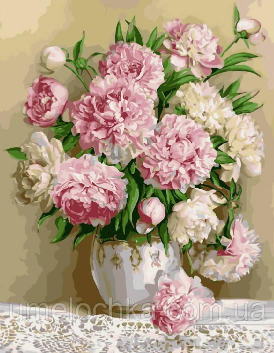 Картина-раскраска Роскошные пионы (BRM8855) 40 х 50 см