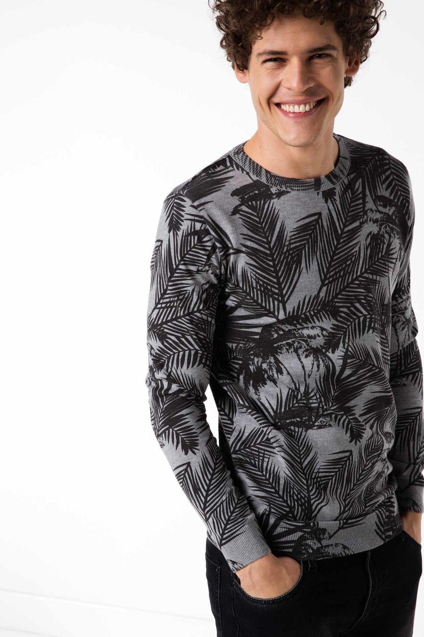 Серый мужской свитер De Facto/ Де Факто с черными листьями