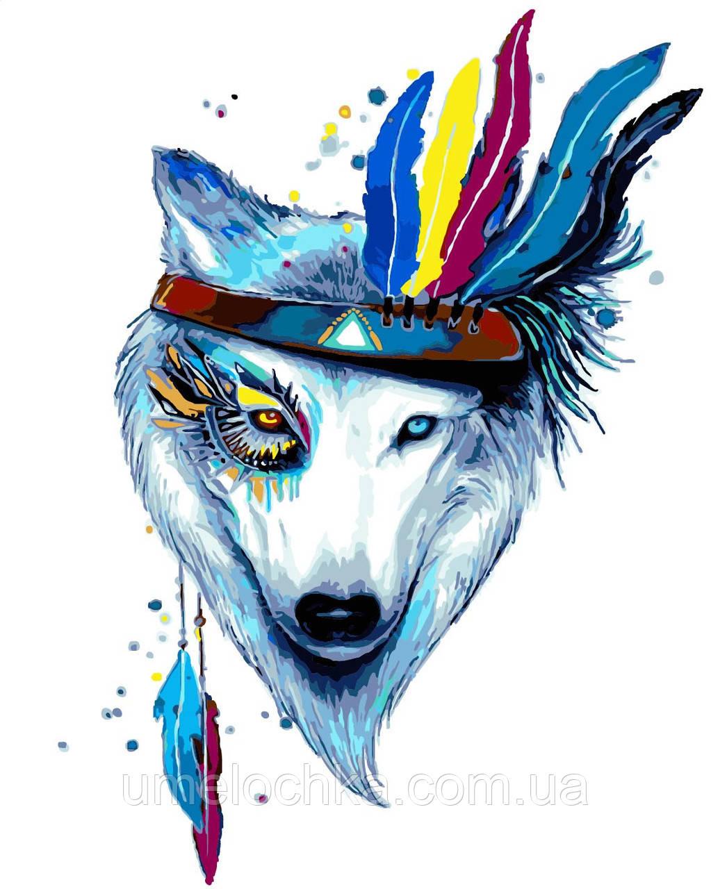 Картина по номерам без коробки Идейка Белая волчица (KHO4019) 40 х 50 см