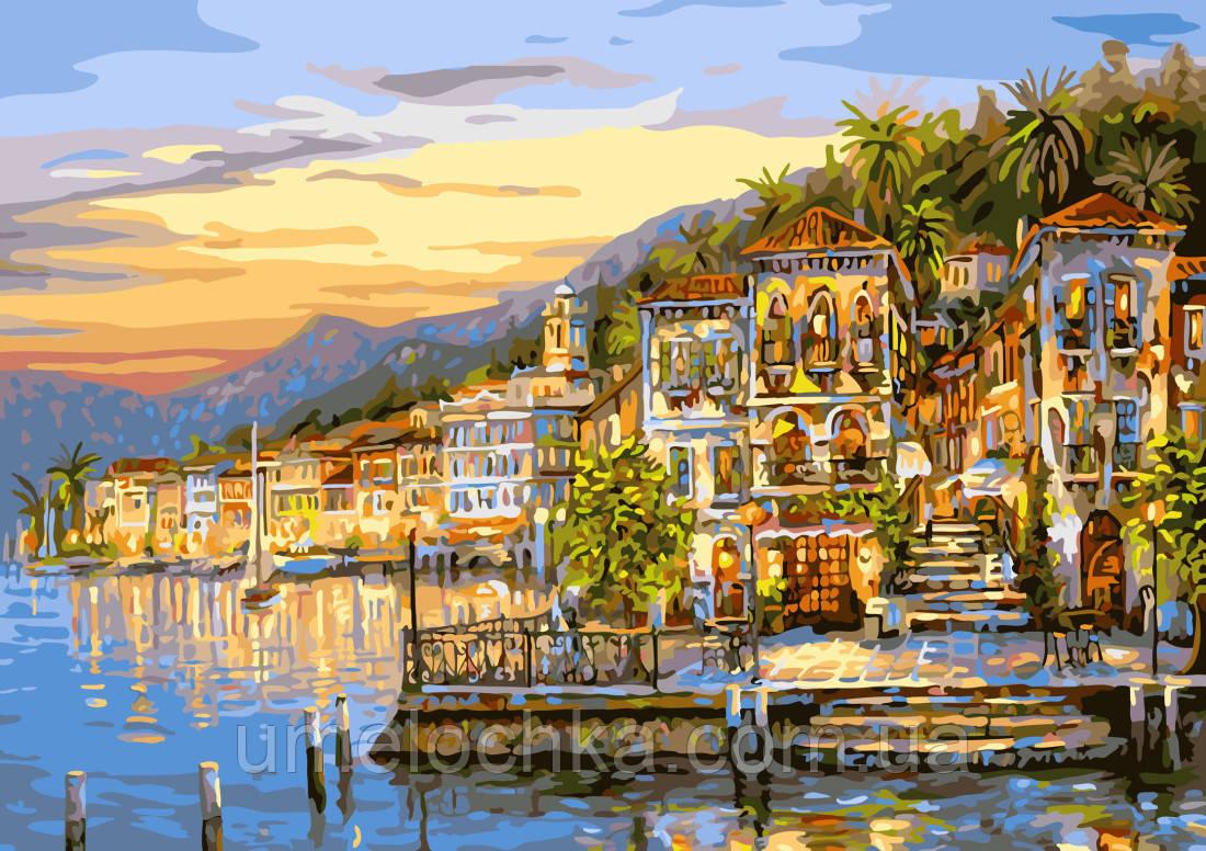Холст по номерам без коробки Озеро Комо Италия (BK-G295) 40 х 50 см