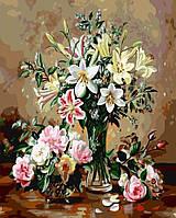 Раскраска на холсте без коробки Розовые лилии (BK-GX5197) 40 х 50 см