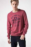 Бордовый мужской свитшот De Facto/ Де Факто с надписью на груди New York City